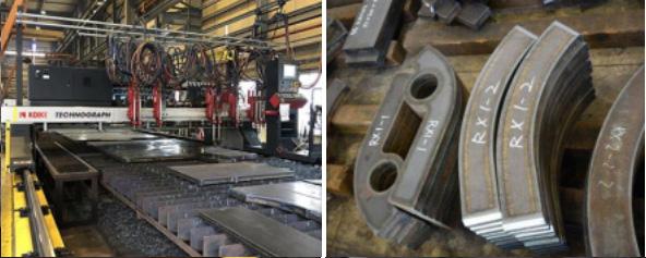 門型ガス溶断機は穴をあけるドリルユニット機能があり、最大で10製品の同時切断ができる量産向きな設備